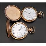 DENNISON GOLD PLATED HUNTER POCKET WATCH with a 17 jewels Swiss movement with an Arabic dial and