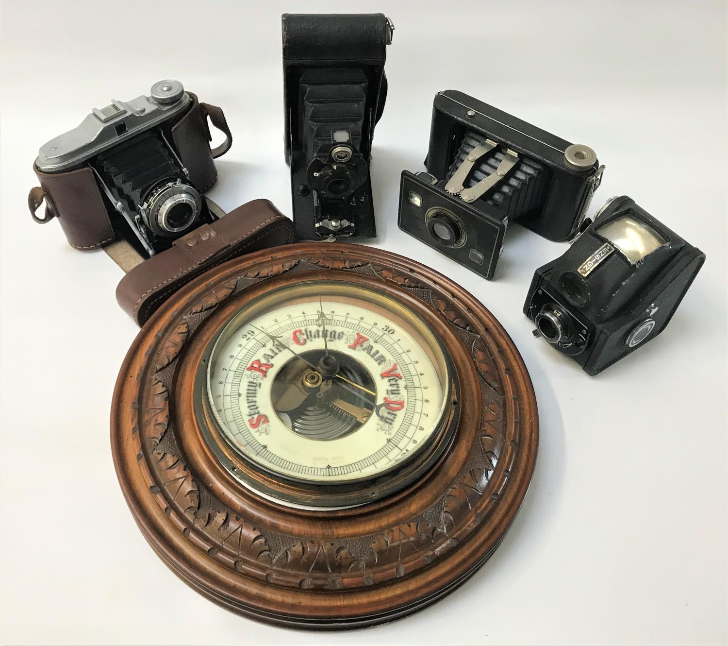 Lot 269 - CIRCULAR WALL BAROMETER together with a cased Agfa Isolette folding camera with accessory, and two