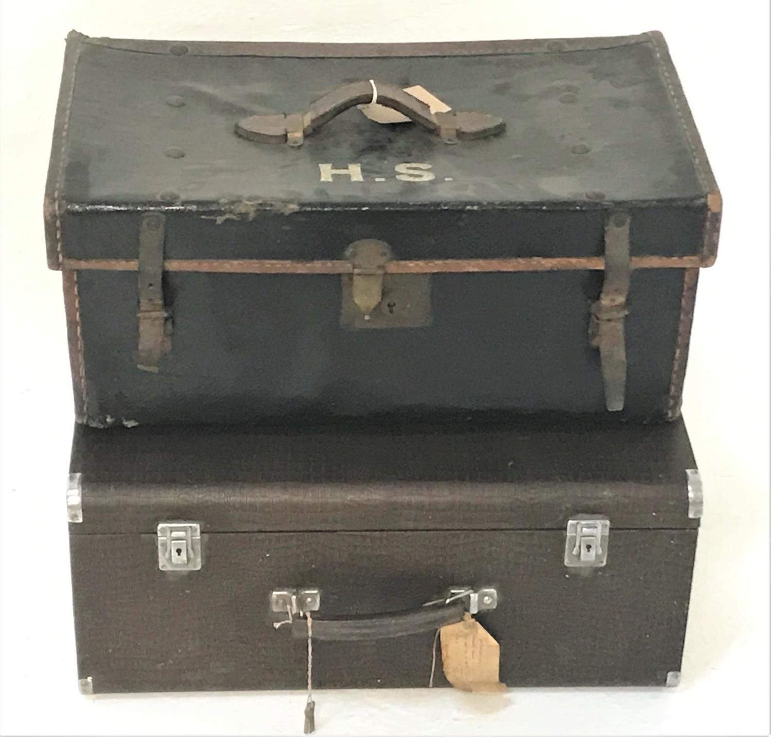 Lot 263 - CANVAS COVERED SMALL TRUNK with a leather carry handle to the lid and initialled 'H.S.' the interior