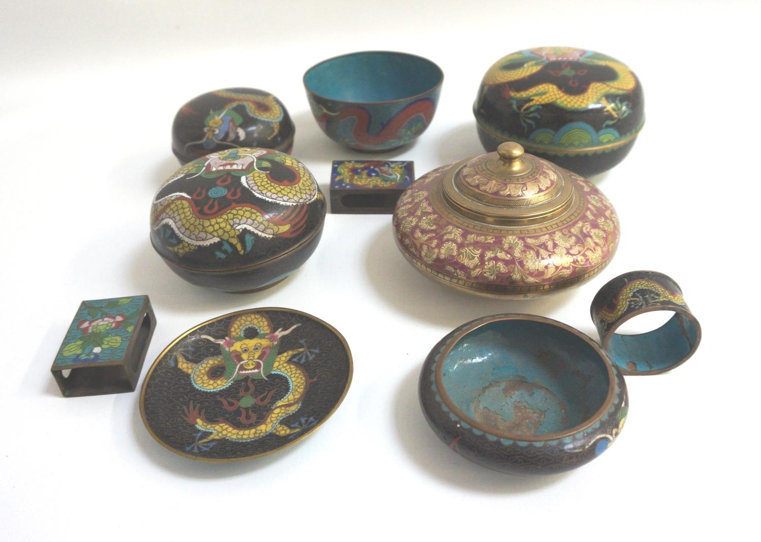 Lot 296 - SELECTION OF CLOISONNE ITEMS including three circular lidded bowls decorated with dragons, two