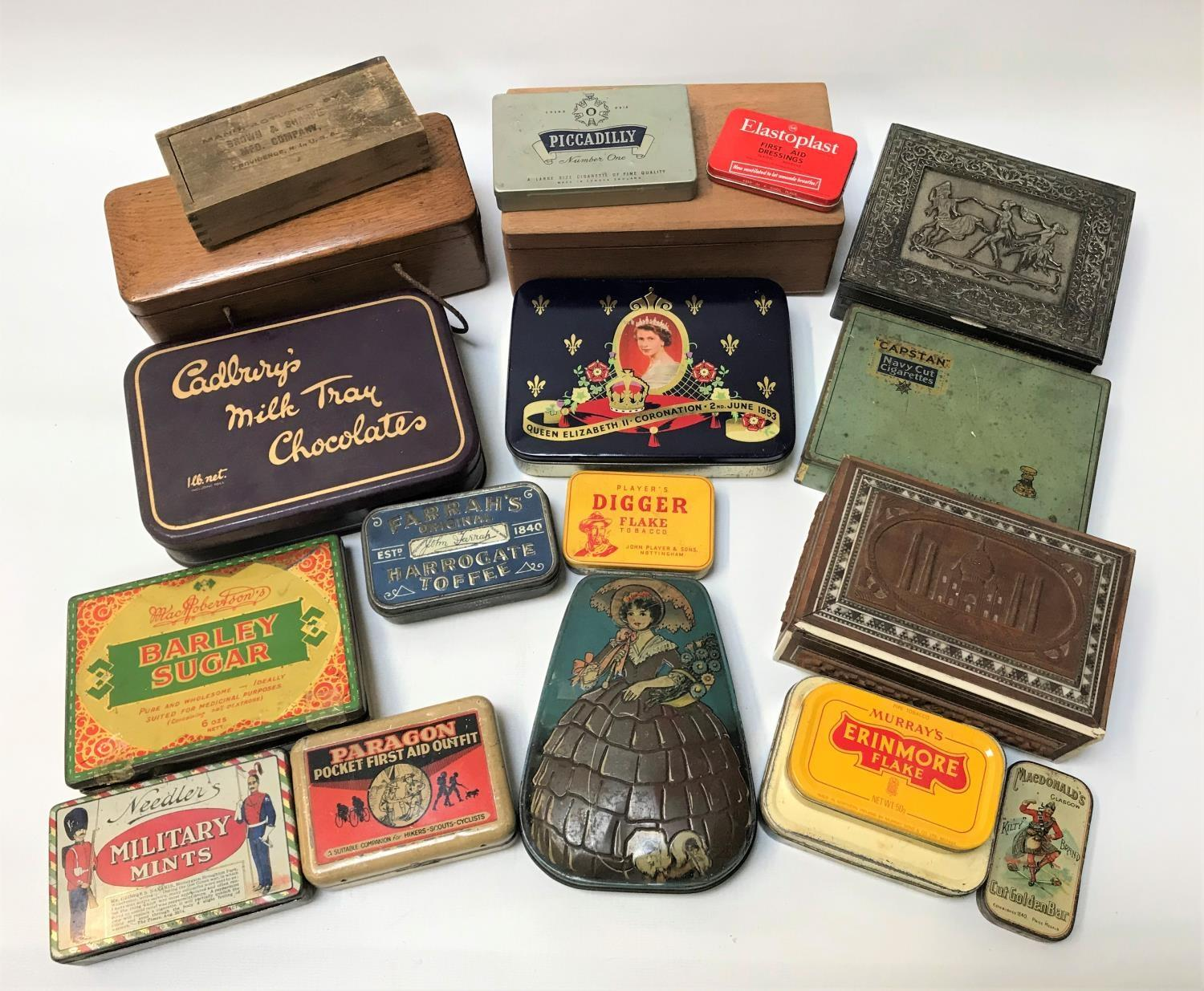 Lot 255 - SELECTION OF BOXES AND VINTAGE TINS including various tobacco tins, Capstan Navy Cigarette tin,