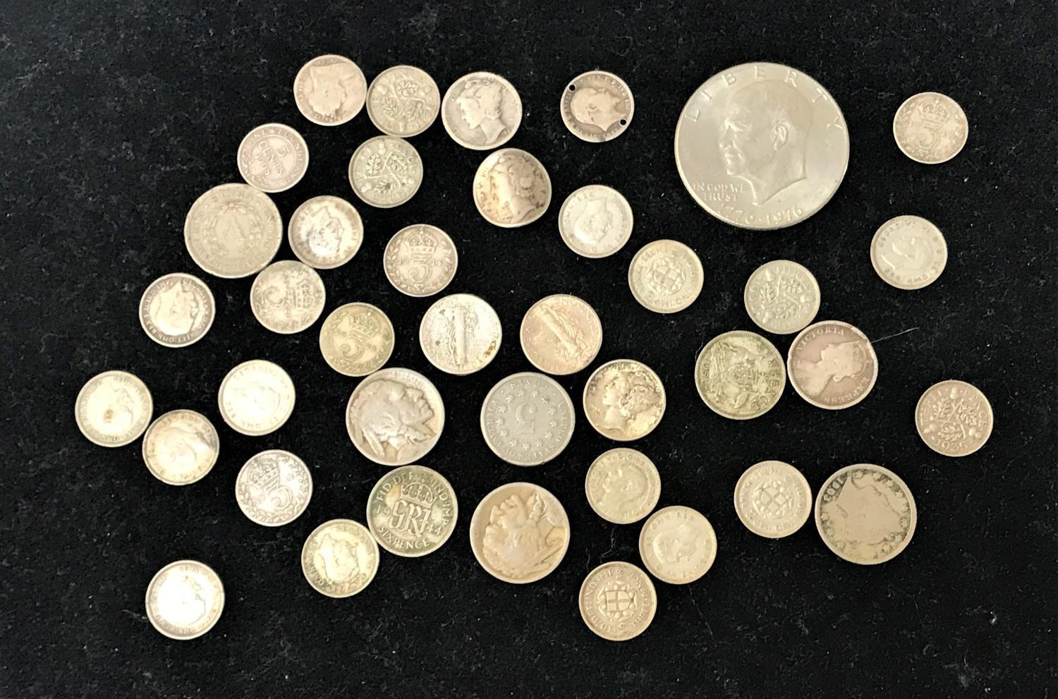Lot 361 - SELECTION OF BRITISH SILVER AND WORLD COINS including .925 and .500 silver, a Victorian three pence,