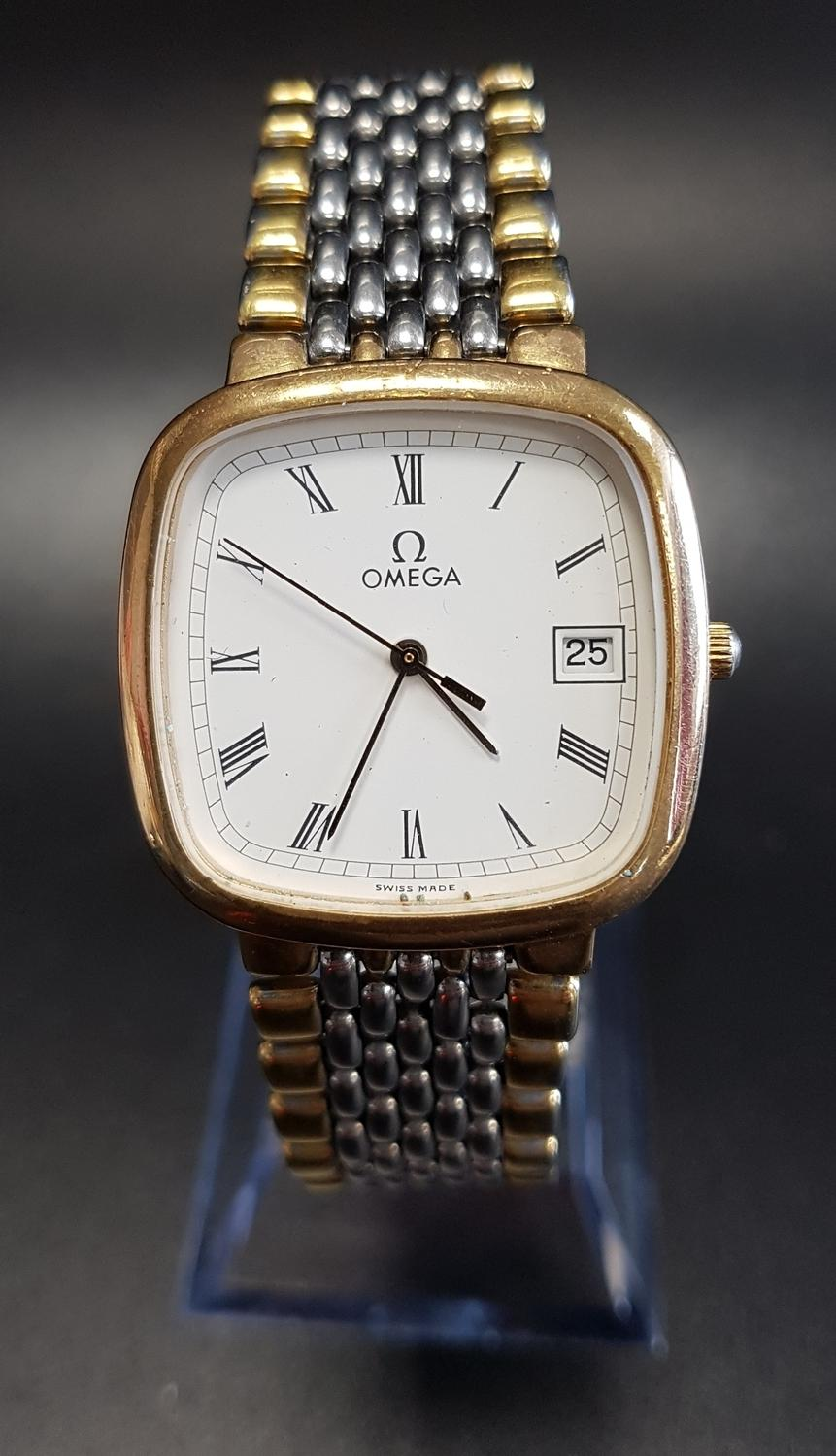Lot 105 - GENTLEMAN'S OMEGA DE VILLE STAINLESS STEEL AND GOLD PLATED WRISTWATCH the white dial with Roman