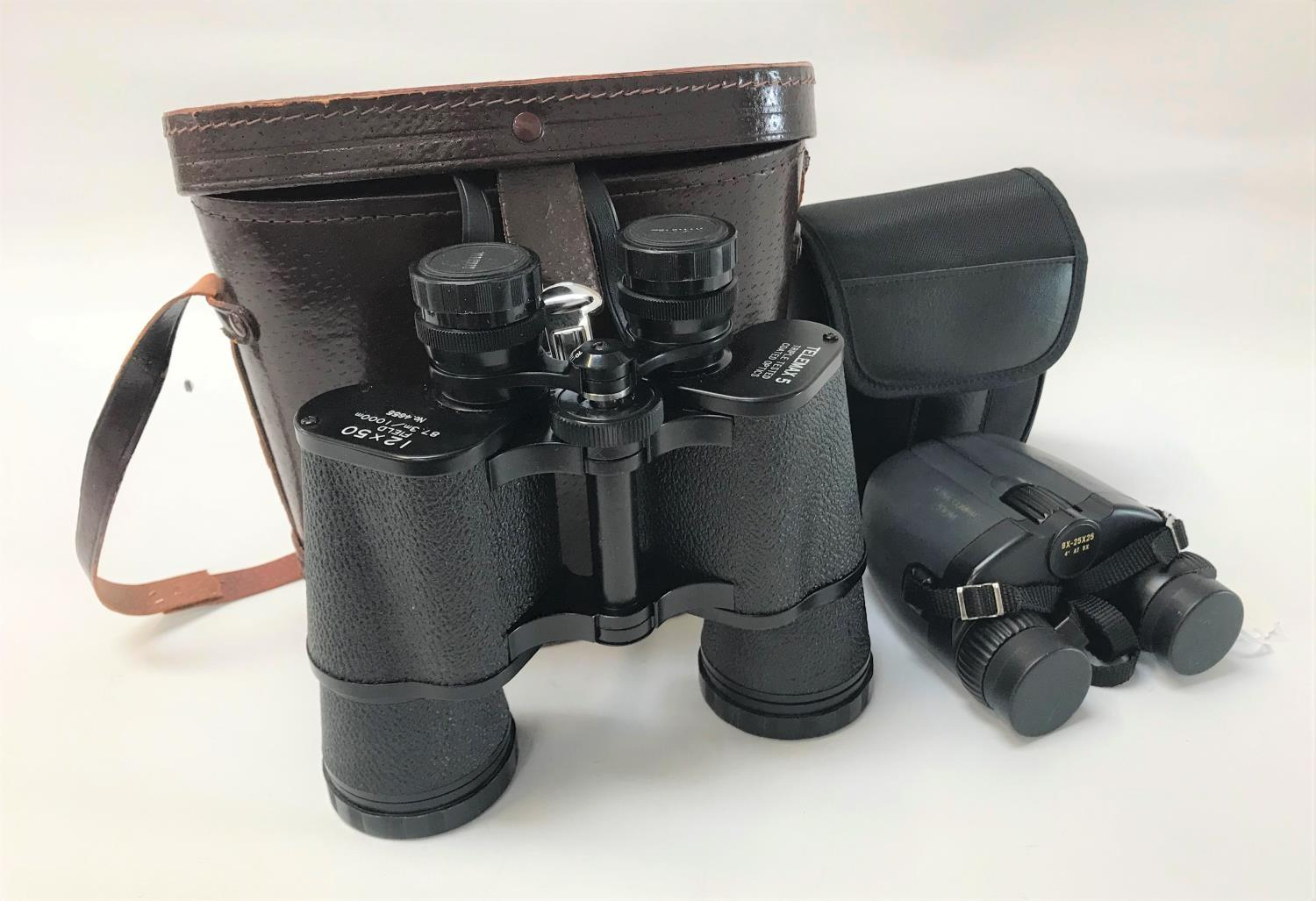 Lot 247 - CASED PAIR OF TELEMAX 5 FIELD GLASSES with 12x50 magnification, together with a pair of Sunmor field