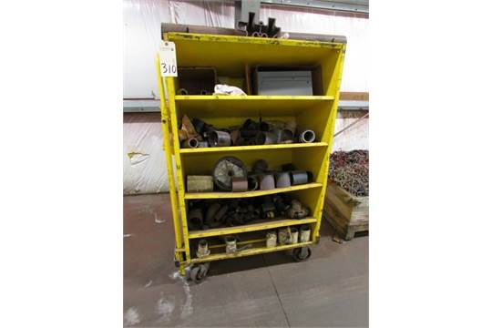 Roller cart w/angled shelves c/w misc  PVC pipe and fittings