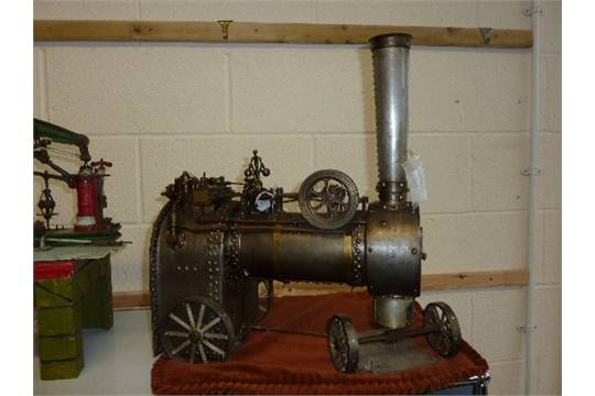 A LARGE SCALE MODEL OF A LIVE STEAM MOBILE BOILER/STEAM