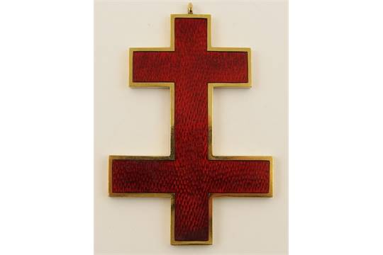 A Double Ended Red Enamel Cross Called The Cross Of Lorraine Or The