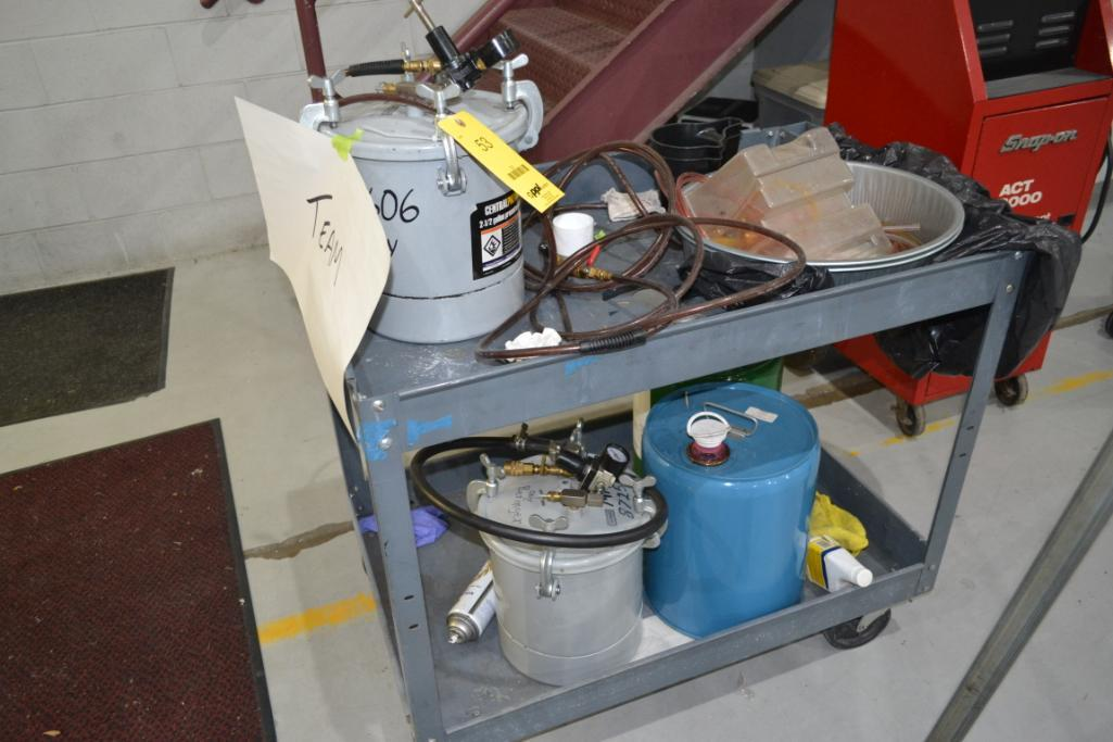 LOT: Assorted Paint Spray Equipment, with Cart