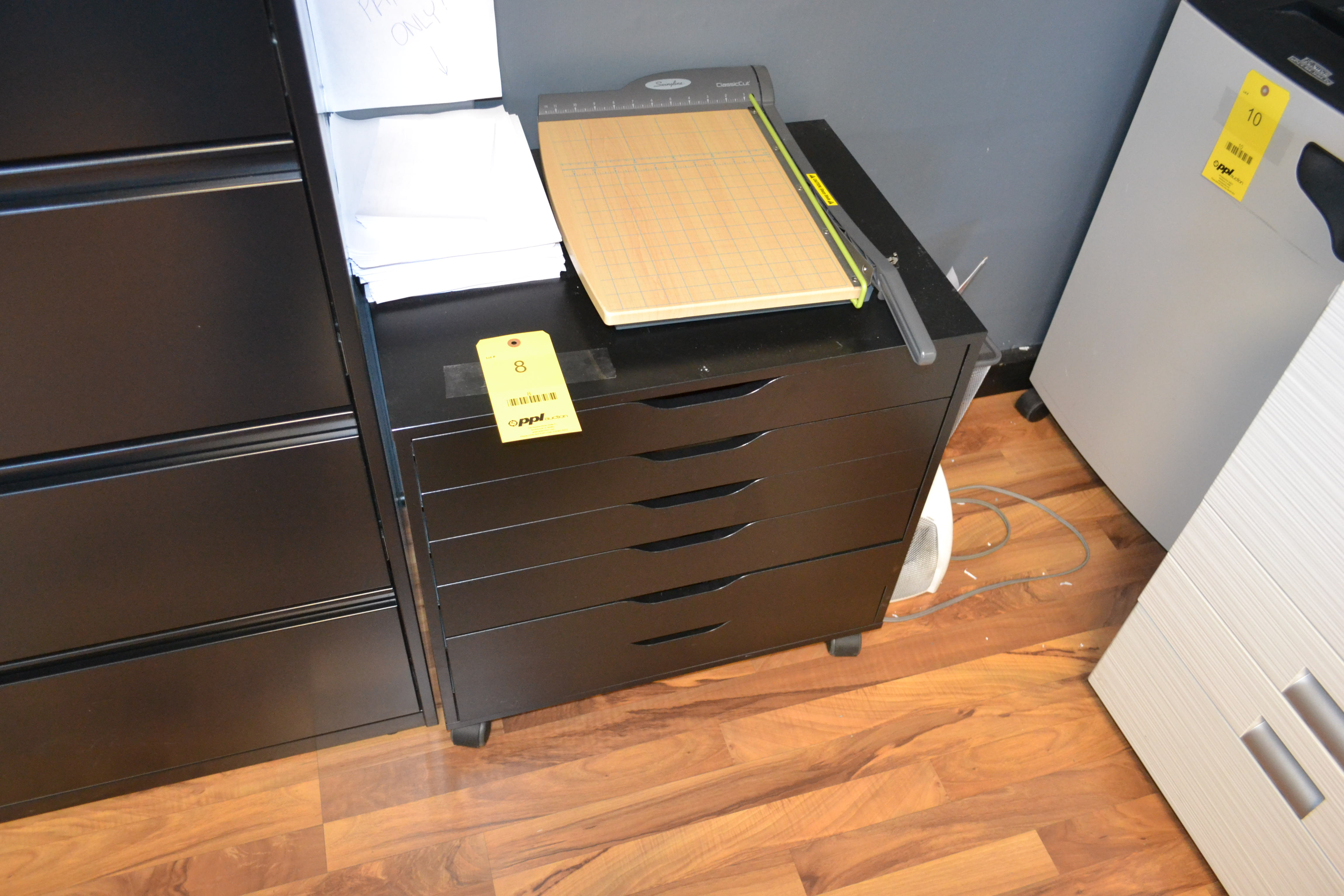 LOT: (2) Portable 5 Drawer Storage Cabinets with Paper Cutter