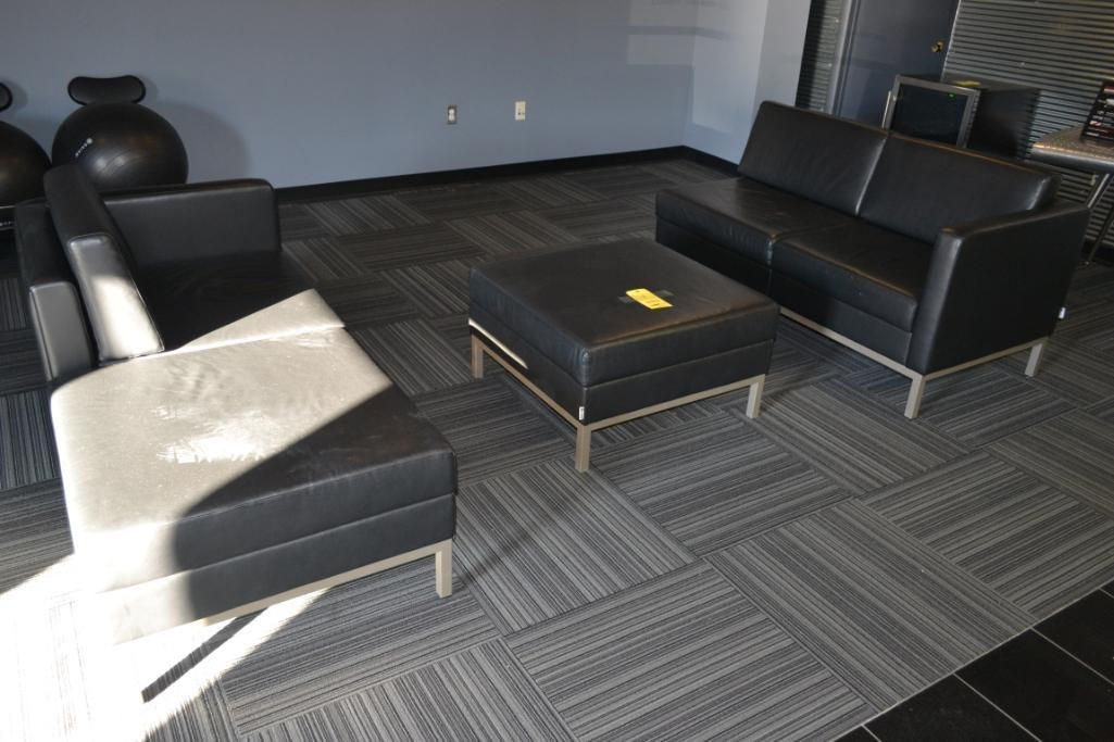 LOT: (2) Black Love Seats with Matching Coffee Table/Ottoman