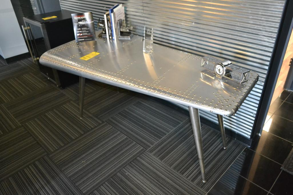 LOT: Aluminum Wing Table with Clock, Books, Book Ends