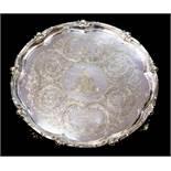 A Victorian Elkington & Co silver plated large presentation circular salver,
