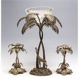 A Mappin & Webb EPNS epergne cast as giraffe and palm tree garniture,