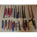 An extensive collection of silk ties and a silk scarves