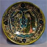 Persian glazed ceramic bowl, made in Tehran, date and makers mark to reverse, depicting a Persian
