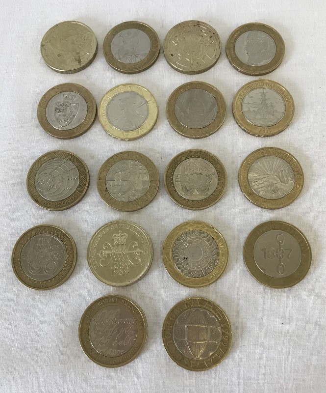Lot 158 - A collection of 18 different design £2 coins.