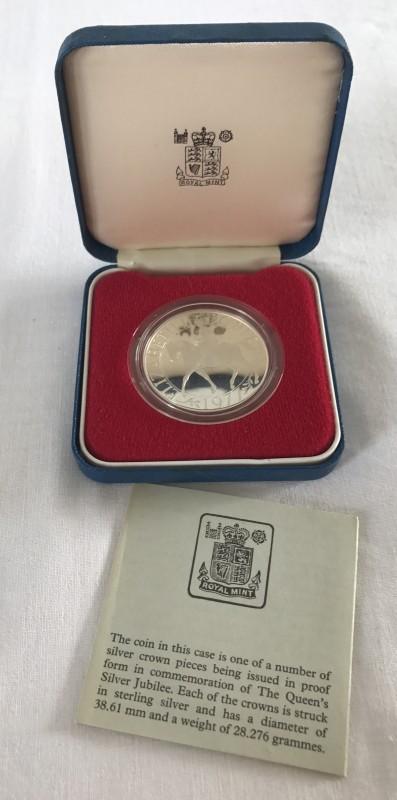 Lot 159 - A cased 1977 silver proof Jubilee crown.