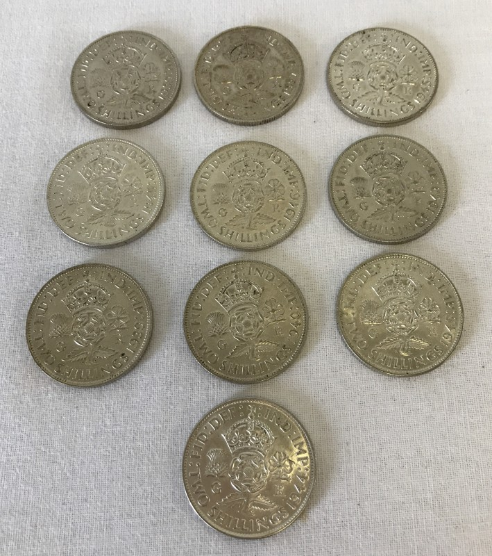 Lot 155 - A collection of 10 pre 1947 2 shilling coins.