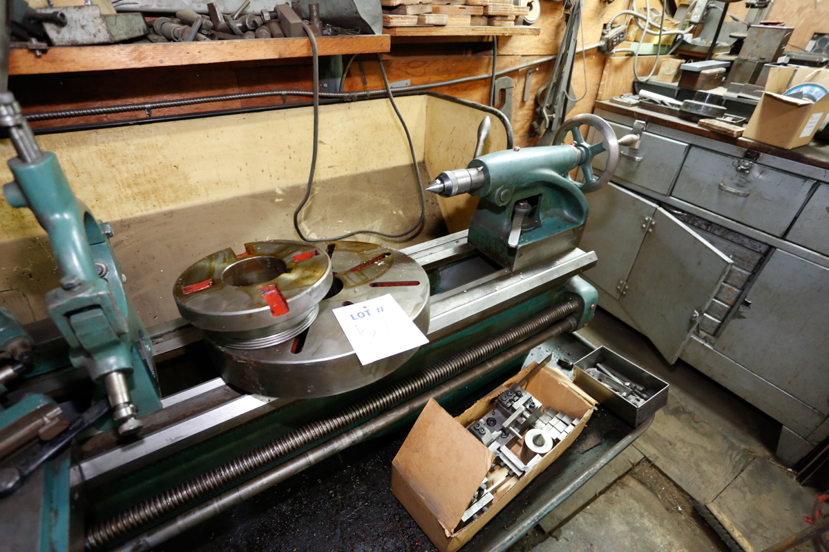 """Lotto 57 - COLCESTER-DOMINIM 15"""" X 48"""" TOOLROOM LATHE, 9"""" 3-JAW CHUCK, 14"""" FACEPLATE, STEADY & FOLLOW REST,"""