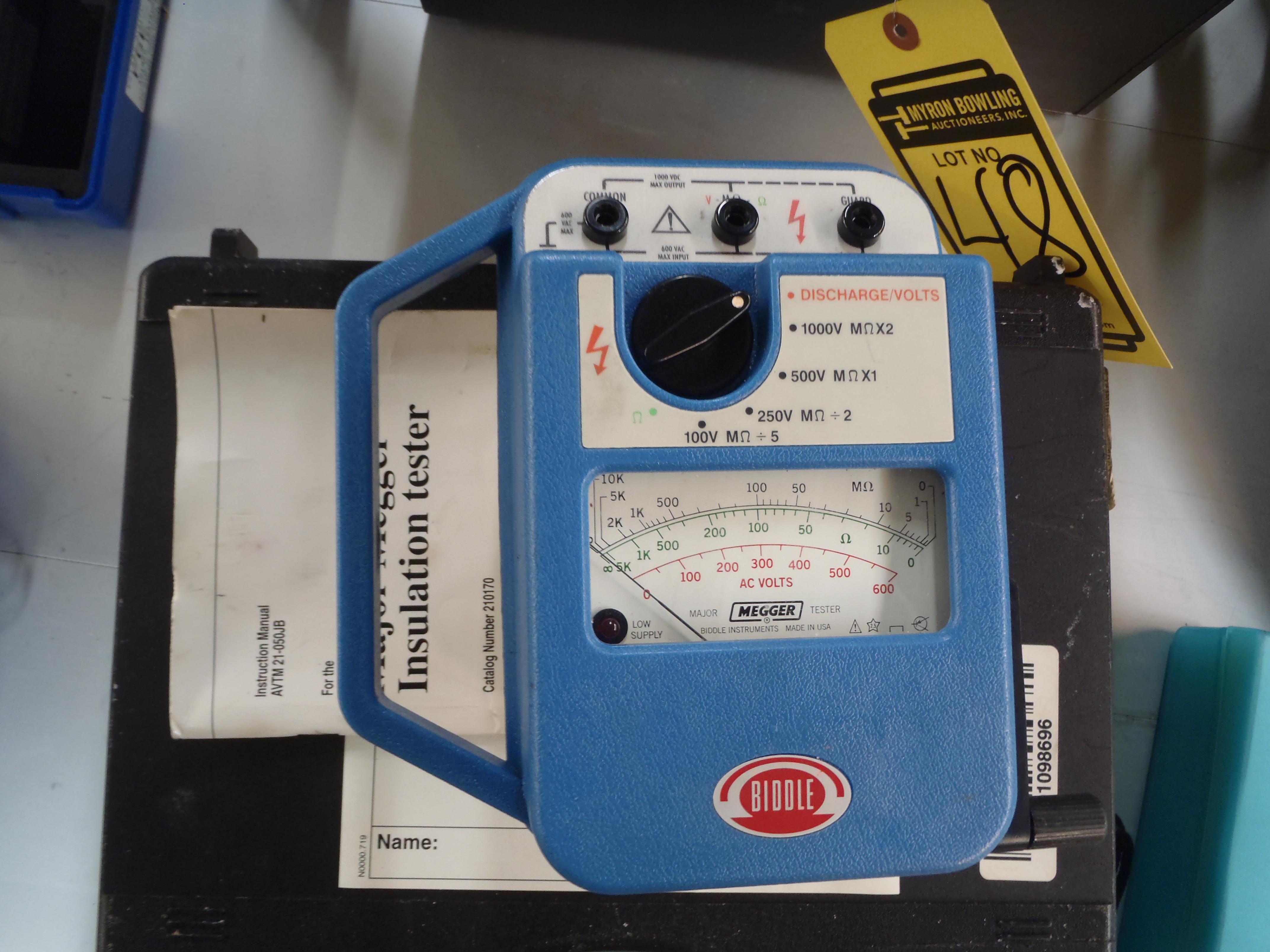 Group Of Lots 45 46 47 48 Biddle Instruments Major Megger Insulation Tester S N 210170