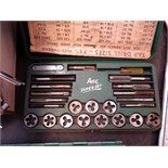 LOT CONSISTING OF: chisels, Bunsen Burner, punches, drill bits, tap & die set, assorted