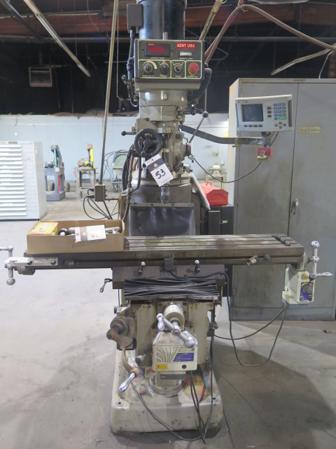 Lot 53 - Kent Vertical Mill w/ Acu-Rite Programmable DRO, 3Hp Motor, Dial Change RPM with Digital Speed