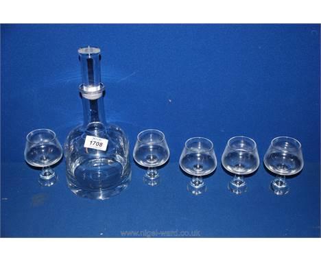 A Dartington glass decanter together with five Holmegaard Princess brandy glasses.