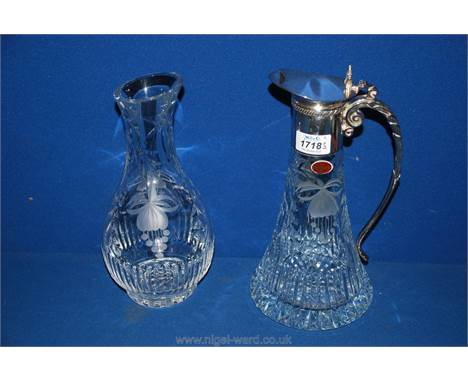 A Royal Brierley Fuchsia cut glass and white metal claret jug and a carafe.