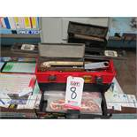 """LOT - PLANO 833 16"""" PLASTIC TOOLBOX W/ CONTENTS OF (2) GASKET CUTTER SETS, MISC HAND TOOLS, COPPER"""
