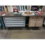 LOT - LISTA 5-DRAWER PARTS CABINET W/ CONTENTS AND 3-DRAWER STEEL WORKBENCH