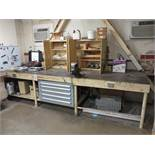 """LOT - STEEL WORKBENCH, HEAVY DUTY W/ 4-1/2"""" BENCH VISE, 147"""" X 48"""", INCLUDES 5-DRAWER LISTA PARTS"""