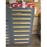 STANLEY VIDMAR 9-DRAWER PARTS/TOOL CABINET, W/ CONTENTS TO INCLUDE: HILTI FASTENERS AND ANCHORS
