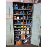 2-DOOR STORAGE CABINET W/ CONTENTS OF PUMP PARTS, FLANGE KITS, PIPE SLEEVES, COUPLINGS, ABRASIVE