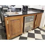 1 x Preparation Counter Unit With Oak Doors and Brass Hardware, Black Granite Work Surface and