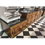 1 x Preparation Counter Unit With Oak Doors and Brass Hardware, Black Granite Work Surfaces and Hand