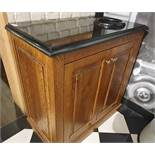 1 x Waitress / Waiter Service Cabinet in Walnut With Granite Surface and Cup Disposal Chute - H90