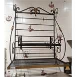 1 x Ornate Wall Mounted Wall Shelf With Hanging Rack in Black - H90 x W71 x D43 cms - Ref PA103 -