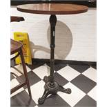 5 x Poser Bar Tables With Ornate Cast Iron Bases and Round Wooden Tabletops - H109 x W65 cms - Ref