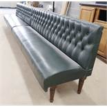1 x Restaurant Seating Bench Upholstery in Green With Studded Back and Oak Turned Legs - H91