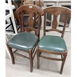 4 x Waring Dining Chairs With Green Leather Seat Pads - Ref PA210 - CL463 - Location: Newbury RG14