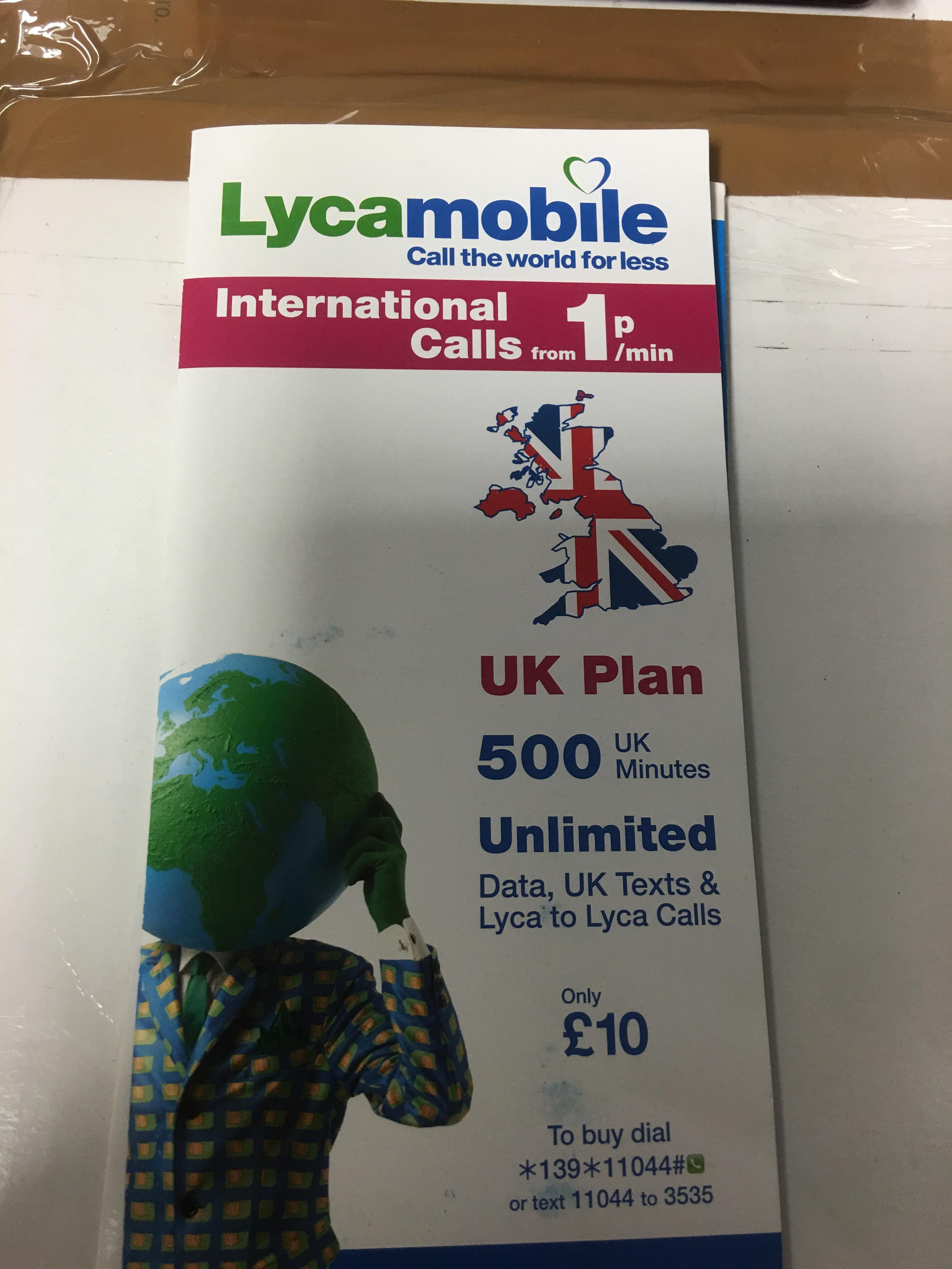Lot 32 - 10 x Lyca PAYG SIM cards