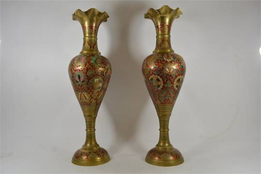 A Floorstanding Pair Of Indian Type Brass Vases With Coloured Decoration