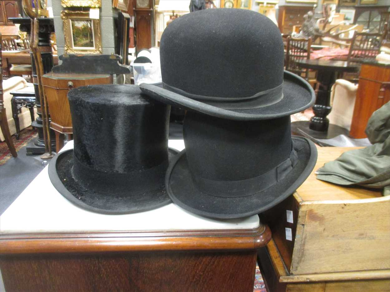 A Top Hat By Austin Reed And 2 Bowler Hats In Cheffins Fine Art