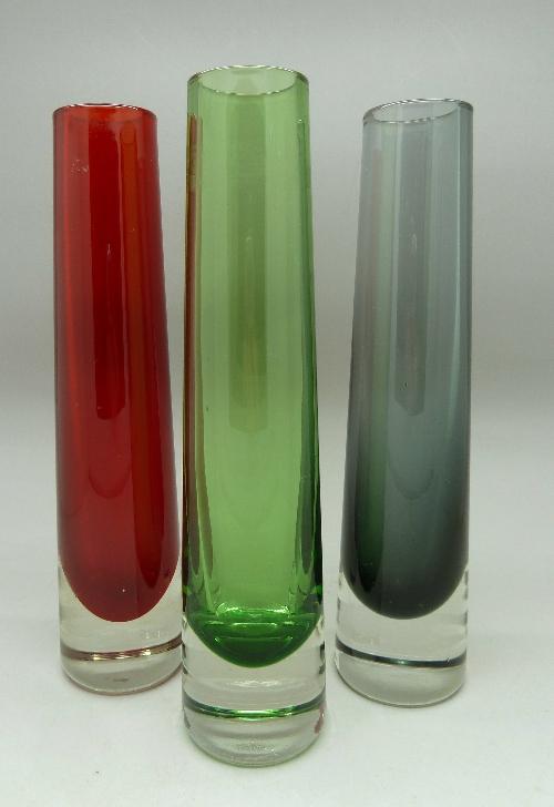 A Set Of Three Whitefriars Glass Vases Tapered Chimney Vase 9655