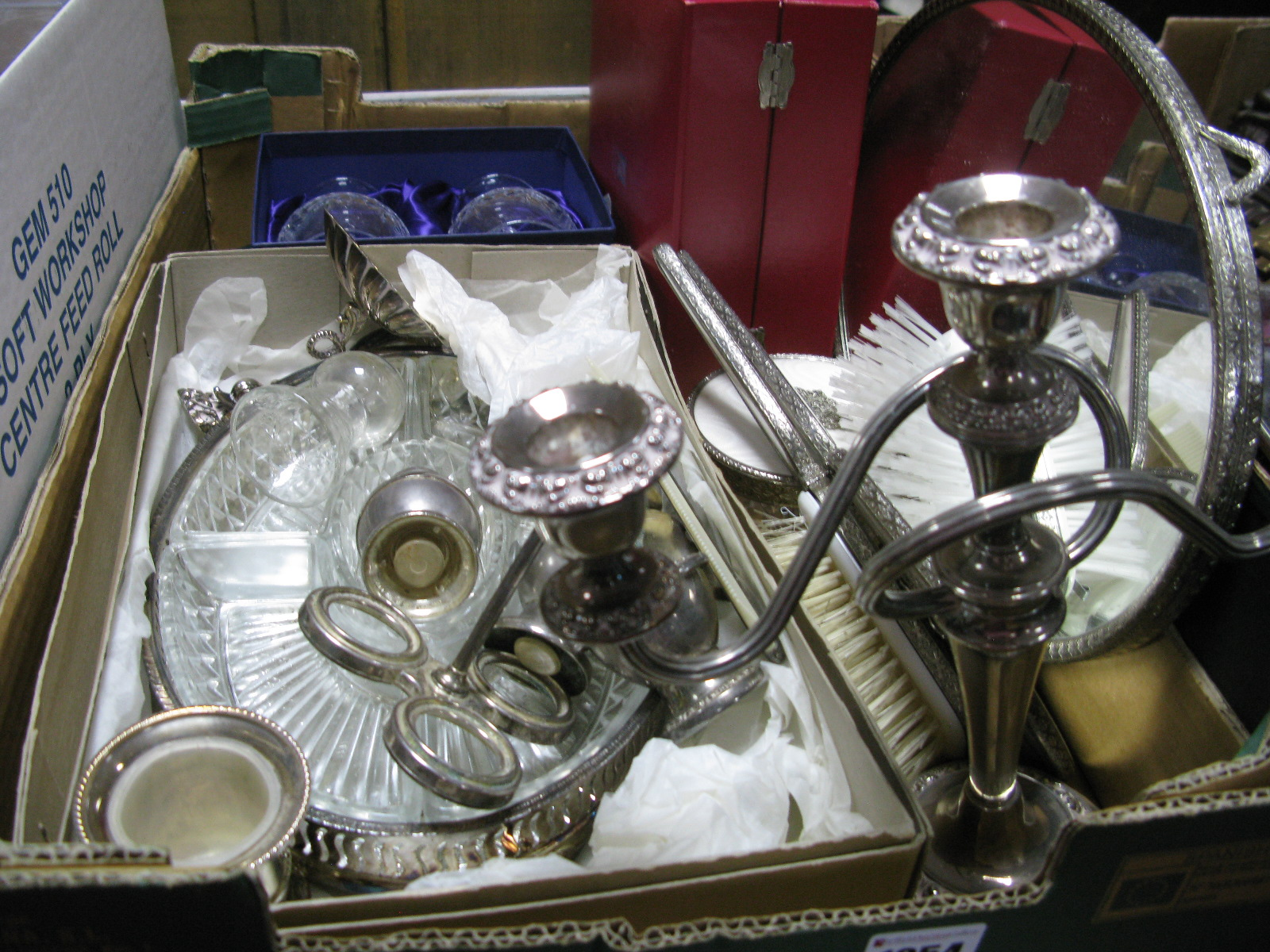 Lot 1054 - A Regent Dressing Table Set, hors d'oeuvres, candelabra, boxed brandy glasses, etc:- One Box