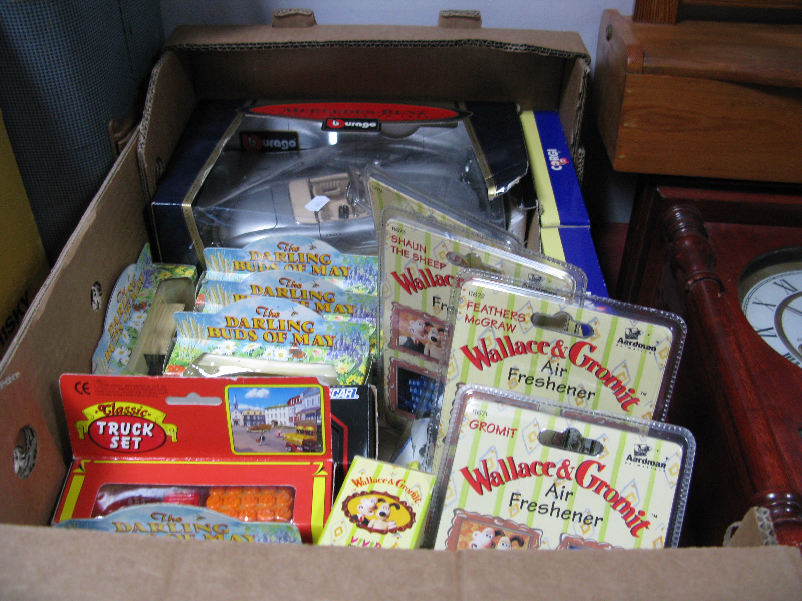 Lot 1040 - Burago Mercedes-Benz, Darling Buds of May, Wallace & Gromit, Other Diecast Vehicles:- One Box