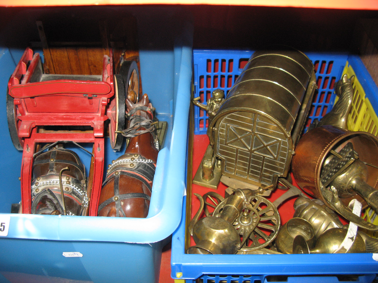 Lot 1025 - Two Pottery Shire Horses, wooden carts, brass example, miner, etc:- Two Boxes