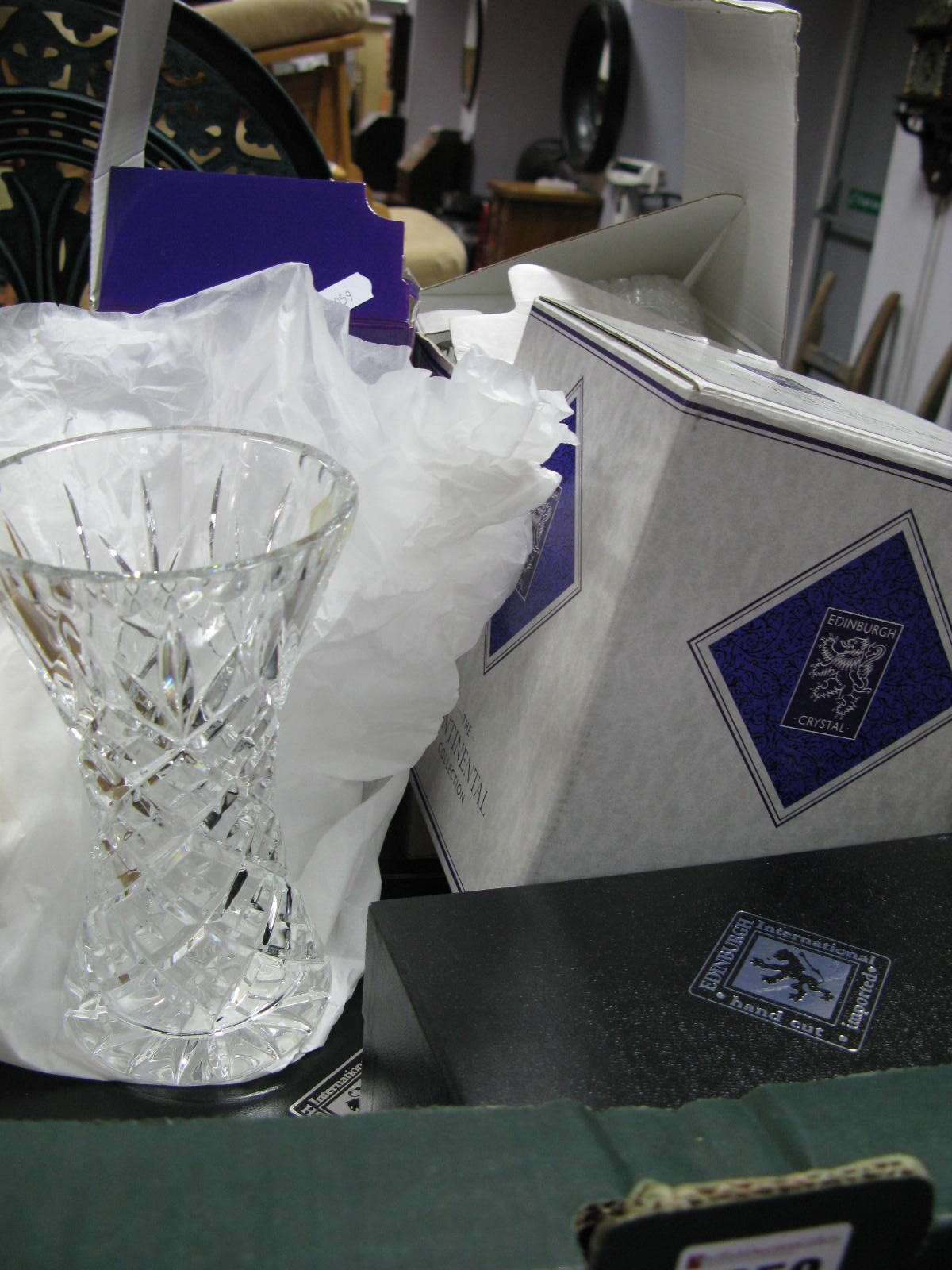 Lot 1059 - Edinburgh Crystal Whisky Tumblers, vases, (boxed), etc:- One Box