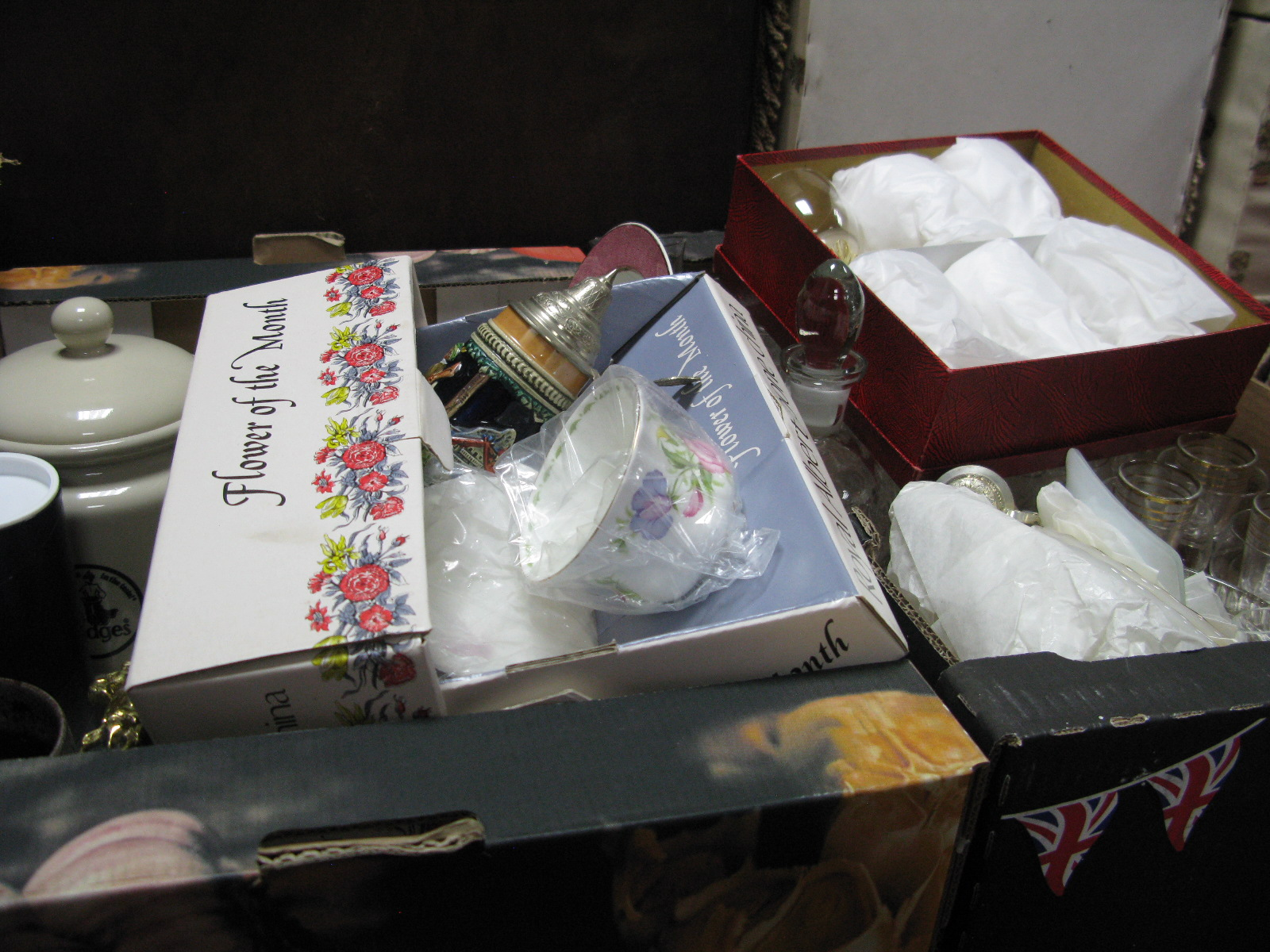 Lot 1047 - Glassware, Royal Albert china, steins, biscuit jar, etc:- Two Boxes