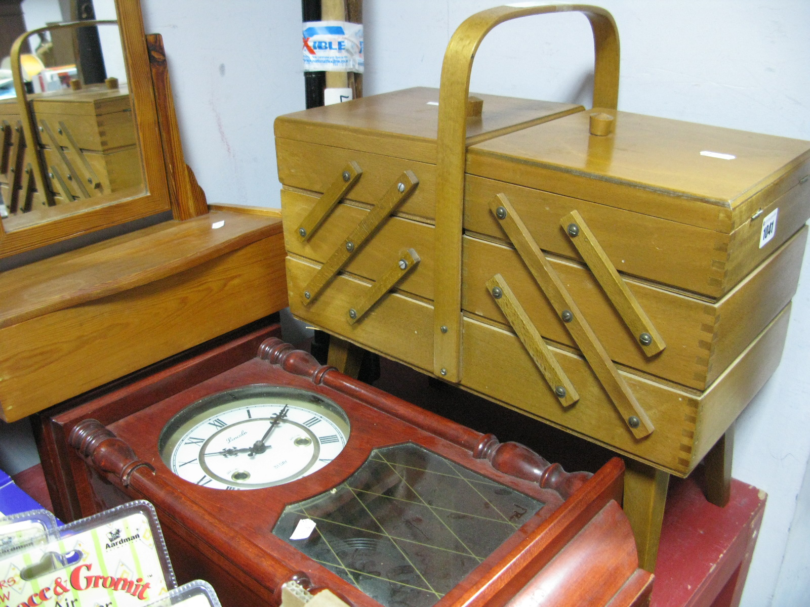 Lot 1041 - A Sewing Box and Contents, pine bathroom mirror, stained wood wall clock and a quantity of walking